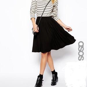 ASOS Flowy Black Knee Length Knit Skirt